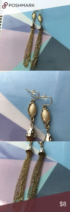 Gold Dangle Earings About 3 inches long. Gold dangle earrings with tan studs on top. Never worn! Jewelry Earrings