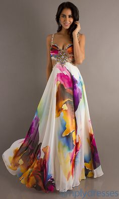 Long Print Dress with Cut Out Sides, Print Gown - Simply Dresses