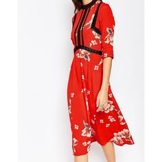 ASOS TALL Premium Chinoiserie Print Dress With Lace Inserts (73 AUD) ❤ liked on Polyvore featuring dresses, pattern dress, white zipper dress, white dress, white rayon dress and print dress