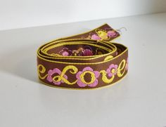 Vintage Ribbon Trim Flower Power LOVE & Flowers Ribbon Brown Yellow Pink Hippie Boho Fashion Mid Century Bohemian Sewing Jewelry Fashion by OffbeatAvenue on Etsy