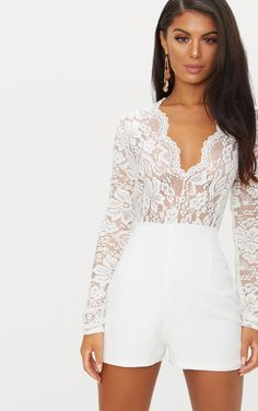 Women's White Lace Long Sleeve Plunge Romper. All White long sleeve women's romper featuring a white lace top, a plunging neckline and long sleeves with contrasting white opaque shorts, All White Romper, All White Jumpsuit, Jumpsuit With Sleeves, White Romper Outfit, Rompers Women, Jumpsuits For Women, Long Sleeve Playsuit, White Long Sleeve, Long Sleeve Lace Top