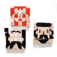 FaceMaker - Jeu de cubes en bois - Miller & Goodman - Jeux d'adresse design pour chambre d'enfant - Les Enfants du Design 40 eur