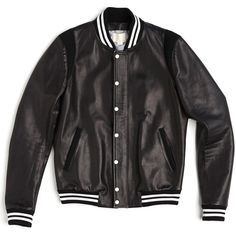 VARSITY JACKET ❤ liked on Polyvore featuring outerwear, jackets, casacos, coats & jackets, tops, genuine leather jackets, real leather jackets, leather letterman jackets, leather jackets and varsity jackets
