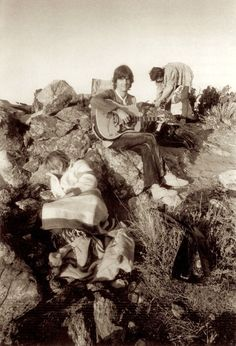 Anita Pallenberg, Keith Richards and Gram Parsons at Joshua Tree, working the western wear.