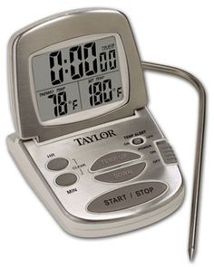 Big buttons make this probe thermometer easy to use—simply set the required temperature. The large display is visible from across the kitchen and the unit sticks to magnetic surfaces or stands up on the counter. $17.63. #cooking #tools