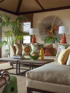 How to Achieve a Tropical Style - Use Tropical Foliage as a Décor Accent.