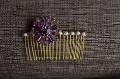 Bridesmaid comb, vintage brooch and swarovski crystals