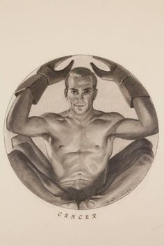 50's Zodiac Erotic Drawings by Cyril Jones - Cancer, Astrology, Crab, Horoscope