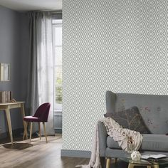 Duck Egg Blue Geometric Wallpaper | Diamond Shapes 4629-08