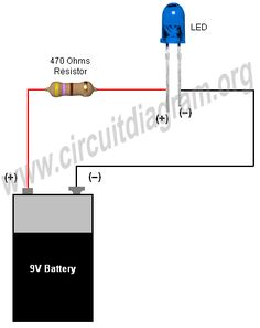 simple basic led circuit circuit diagram electronics pinterest rh pinterest com LED Wiring Guide LED Switch Wiring Diagram