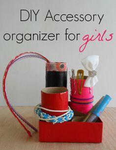 diy accessory organizer for girls using paper towel rolls and pretty tape. LOVE IT! #QuickerPickerUpper #spon
