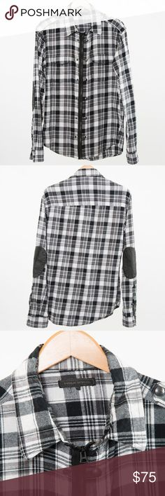 Public School Men's Flannel Zip Up XL Public School Men's Flannel Zip Up XL  Dual button or zip closure. Buttons on each side of zipper. See pics. Black leather elbow patches.  100% Cotton RN 124206 Imported Black/White  2 Pockets on Chest. Public School Shirts Casual Button Down Shirts