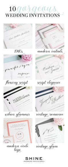 Top 10 most gorgeous wedding invitations from Shine Wedding Invitations - Calligraphy Wedding Invitations