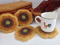 Rug Hooking Pattern Sunflower Mug Rugs J821 by DesignsInWool, $16.00