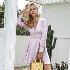 Pink Satin Long Sleeve Party Dress