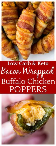 These easy-to-make Bacon Wrapped  Buffalo Chicken Poppers are bursting with spicy, cheesy flavors! They are low carb, keto, and gluten free! They are perfect as an appetizer recipe or snack! | #jalapenopoppers #appetizers #bacon #buffalochicken #lowcarb #glutenfree #keto #dlbrecipes