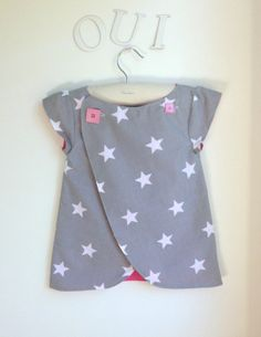 Girls Pinafore Dress, Wrap top, Girls Shirt, The Chocolatine Tunic - Sizes 12 months to 6Y