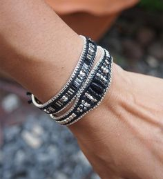 Black Agate mix single wrap bracelet with chain on Black cord