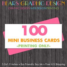 100 Mini Slim Business Cards by BearsGraphicDesign on Etsy, $25.00