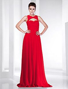 Sheath/Column V-neck Floor-length Chiffon Evening Dress insp... – USD $ 149.99