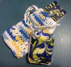 Crotchet soap saver bag with Beach Breezes cp soap