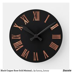 Black Copper Rose Gold Minimal Metallic Urban Round Clock Unique minimal and decorative Corresponds to actual fashion trend in home decor. You can change the shape and color of the hand. Copper Kitchen Accessories, Copper Kitchen Decor, Copper Room Decor, Black Kitchen Decor, Rose Gold House Accessories, Red Kitchen, Kitchen Paint, Country Kitchen, Black And Copper Kitchen