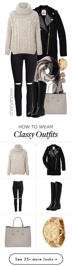 """""""Classy edgy casual chic fall outfit"""" by cherrysnoww on Polyvore featuring moda, Juicy Couture, Suzanne Kalan, Michael Kors, H&M e Prada"""