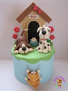 icu ~ Pin on Beautiful Cakes & Cupcakes ~ Nov 2019 - Puppy dog topper cake - Cake by Sheila Laura Gallo Fancy Cakes, Cute Cakes, Fondant Cakes, Cupcake Cakes, Fondant Cake Toppers, Fondant Baby, Beautiful Cakes, Amazing Cakes, Puppy Cake