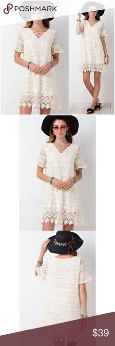 """Off-white Lace/Crochet Lace-Up Dress Off white all-over lace/crochet dress. Fully lined with a crochet/lace overlay.   •80% Polyester 20% Cotton Lining: 100% Rayon •Lace-up at neckline, with tie tassels.  •Fully lined  Measurements: Small:      Bust: 42"""" Length: 36""""  ❗️Price is firm unless bundled❗️  #KL7751418 Dresses"""