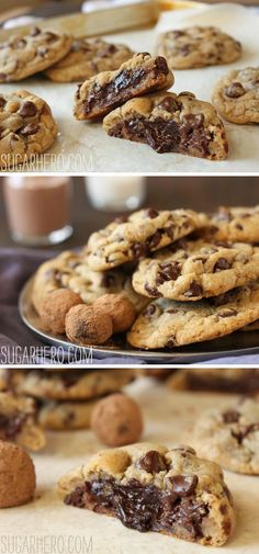 Truffle-Stuffed Chocolate Chip Cookies - soft chocolate chip cookies with a gooey chocolate truffle stuffed inside! | From SugarHero.com