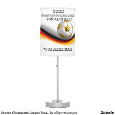 Soccer Champions League Final 20xx Desk Lamp  Custom black and yellow and red lamp. With a soccer yellow and white football . With a white background. you have a place for your Name of player's, Number of jersey, Name of team, and the Year on it. yellow and white desk lamp. The yellow and white text can be changed as well. This light is great for a gift. Delete any or all text. IMPORTANT Personalize each soccer night light, ONE at a Time, ADD that case to the CART