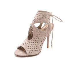 Aquazzura Sexy Star Cutout Booties in Beige (tan) for the Modern Gladiator Crazy Shoes, Me Too Shoes, Zapatos Shoes, White Heels, Classy And Fabulous, Aquazzura, Fashion Shoot, Types Of Fashion Styles, Stiletto Heels