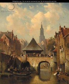 A cappricio view of Utrecht - Charles Henri Leickert