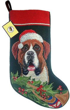 Santa Hat Boxer Dog Needlepoint Christmas Stocking – For the Love Of Dogs - Shopping for a Cause
