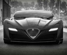 The Alfa Romeo GTS Concept is a study of a supercar that combines the brand's trademark shapes with sharper, organic lines. It was created by Ugur Sahin Design. Audi, Porsche, Bmw, Lamborghini, Ferrari, Sexy Cars, Hot Cars, My Dream Car, Dream Cars