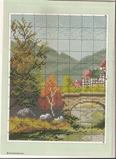Пейзажи,мосты, домики, дворики...Схемы вышивок
