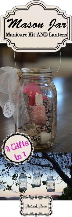 End of year teacher appreciation gift (or hostess gift) - DIY Mason Jar Manicure Kit AND Lantern.  TidbitsandTwine