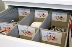 Floral Printable Baby Nursery Drawer Labels - print yourself - Baby Girl, Nursery Decor, Nursery Organization by ArthurCustomGraphics on Etsy https://www.etsy.com/listing/453858562/floral-printable-baby-nursery-drawer