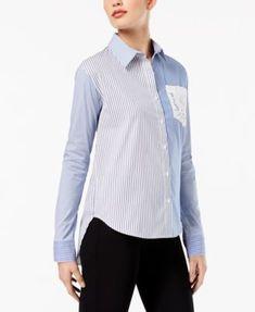 DKNY Mixed-Stripe Lace-Pocket Shirt | macys.com