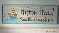 Hilton Head || South Carolina Customized wood signs of the places you love! Shop at kerriartcorner.weebly.com Contact kerrisartcorner@gmail.com #woodsigns #kac #kerrisartcorner #woodplaques #places #hiltonheadisland #hiltonhead #southcarolina #seapines #lighthouse #painting #travel #homedecor #housedecor #woodhangings