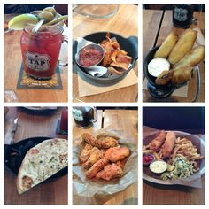 TAP AND BARRAL - ceaser, bacon chips, deep fried pickles, mussels, chicken wings, & fish and chips. 7/10 #food #vancouvereats #musttry #vancouver Deep Fried Pickles, Bacon Chips, Fish And Chips, Mussels, Chicken Wings, Vancouver, Fries, Meat, Food