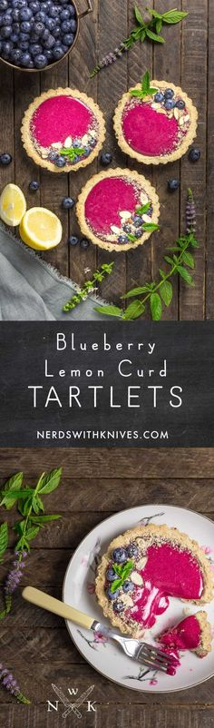Buttery almond tart shells filled with the most beautiful and delicious blueberry-lemon curd. These tartlets are a perfect summer treat.