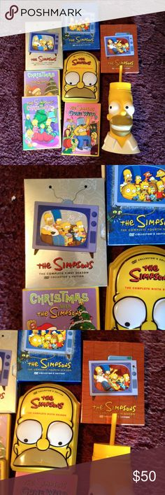 "EUC* SIMPSONS DVD series sets bundle Complete 1st, 4th, 5th, 6th seasons DVD sets, along with SIMPSONS CHRISTMAS 1 & 2, SIMPSONS GONE WILD DVD'S....17 discs in all, plus UNIVERSAL STUDIOS XL ""HOMER"" WATER BOTTLE (a collector's edition) 😂😂😂 LOTS IF LAUGHS HERE!!!!😂😂😂All are in super condition!!!!👍🏽 Simpson's Other"