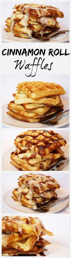 Cinnamon Roll Waffles recipe - Best weekend breakfast ever! Recipe from RecipeGirl.com.