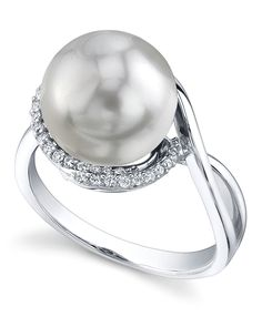 Exquisite Pearl - Choose Your Quality Diamonds - .14 Carats SI Quality White Gold - 2.94 Grams 14K Quality South Sea Pearl & Diamond Summer Ring - The Pearl Source