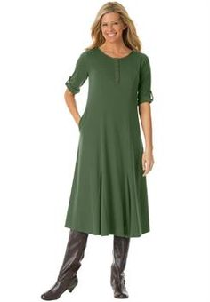 Plus Size Knit Henley dress with bronzed button placket, convertible sleeves
