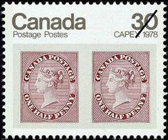 CAPEX 1978 - Pair of 1857 1/2d Queen Victoria stamps