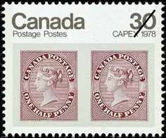 CAPEX 1978 - Pair of 1857 1/2d Queen Victoria stamps