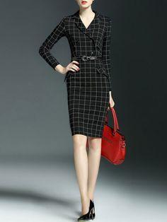 Designer CYANINE SEA on stylewe.com Plaid Double Breasted Midi Dress