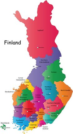 Finland Map. Helsinki looks like a fairytale from the air in the summer time.
